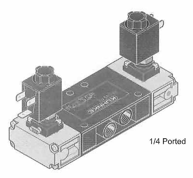 3 Position Valves (4 Way), Solenoid Operated (Spool Design, Flat Mounting)